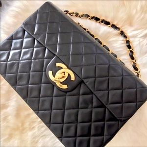 CHANEL Maxi XL Black Lambskin Single Flap 2.55 Bag